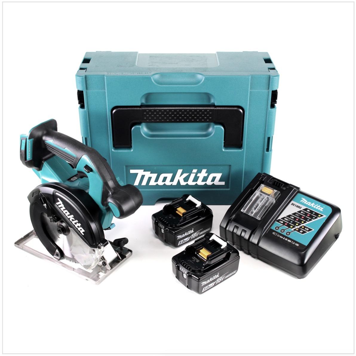 Makita DCS551RTJ Akku-Metallhandkreissäge 18V Brushless 150mm + 2x Akku 5,0Ah + Ladegerät + Koffer